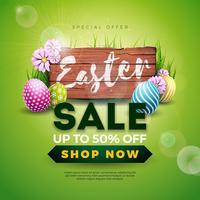 Ostern-Verkaufs-Illustration mit Farbe gemaltem Ei und Frühlingsblume auf Weinlese-Holz-Hintergrund. vektor