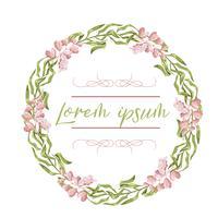 Kranz, Blumenrahmen, Aquarellblumen, Pfingstrosen und Rosen, handbemalte Illustration. Isoliert auf weißem hintergrund. vektor