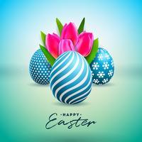 Vektor illustration av lycklig påskferie med målat ägg och tulpanblomma