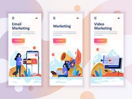 Set Onboarding-Bildschirme für die Benutzeroberfläche für Video, E-Mail, Digital Marketing, Mobile App-Vorlagen-Konzept Moderner UX, UI-Bildschirm für mobile oder responsive Website. Vektor-illustration