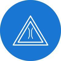 Vektor-schmale Brücke Verkehrsschild-Ikone