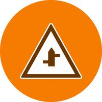 Vektor mindre korsvägar från höger till vänster vägskylt ikon