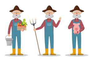 Lycklig bondefamiljstecknadskaraktär i ekologisk lantgård vektor