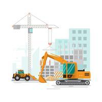 Baustellenarbeitsprozess im Bau mit Kränen und Maschinen