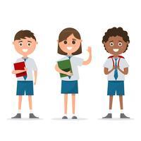 Studenten in verschiedenen Charakter isoliert auf weißem Hintergrund.