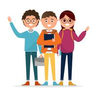 Studenten in verschiedenen Charakter isoliert auf weißem Hintergrund