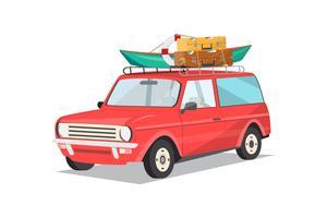 Resa med bil. Vektor illustration platt design
