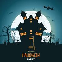 Halloween-Nachthintergrund mit Kürbis und dunklem Schloss unter dem Mondschein vektor