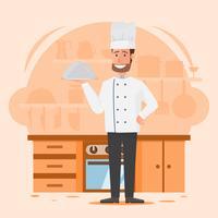 professionell man kock med restaurang kök bakgrund vektor