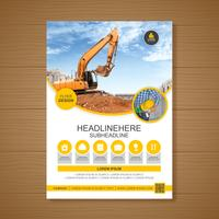 Schablone der Bagger- oder Bulldozerabdeckung A4 für Baubroschürendesign, Flieger, Broschürendekoration für den Druck und Darstellungsvektorillustration