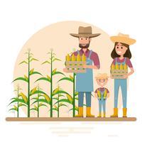 glückliche Landwirtfamilie Zeichentrickfigur vektor
