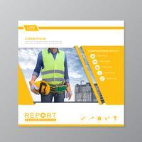 Bauwerkzeug-Abdeckungsschablone für einen Bericht und eine Broschüre entwerfen, Flieger, Fahne, Broschürendekoration für den Druck und Darstellungsvektorillustration