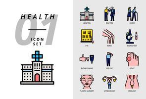 Ikonpaket för hälsa, sjukhus, läkare, äldre, ögon, ben, blodprov, blodsocker, ljust fett, gikt, plastikkirurgi, gynekologi, urologi.