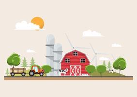 Jordbruk och jordbruk i landsbygdens scendesign vektor
