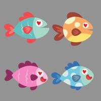 Lustige Fischvektorzeichen. Tropischer Fisch der tropischen Fische des bunten Korallenriffs. Seefischsammlung lokalisiert auf weißem Hintergrund. Tropische Ikonen der Karikaturaquariumfische oder des Korallenriffs. Süßer Rifffisch. Fisch-Vektor-Symbol Tro
