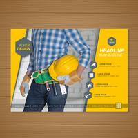 Bauwerkzeugabdeckung a4 Schablone für einen Bericht und eine Broschüre entwerfen, Flieger, Fahne, Broschürendekoration für den Druck und Darstellungsvektorillustration