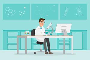 medizinisches Konzept Wissenschaftler bemannen Forschung in einem Labor vektor