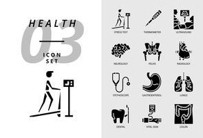 Ikonpaket för hälsa, sjukhus, stresstest, termometer, ultraljud, neurologi, bäcken, radiologi, stetoskop, gastroenterolog, lungor, dental, vitala tecken, kolon.