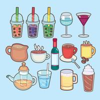 Drick och barikonen. Sats med drink och fest vektor ikon för lager.