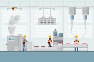 smart industrifabrik i en platt stil med arbetare, robotar och monteringslinjepackning
