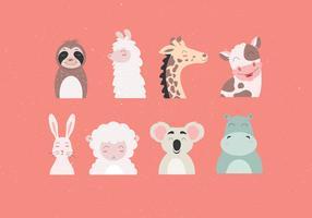 Animal Faces Set vektor