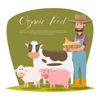 glückliche Landwirtfamilienzeichentrickfilm-figur im organischen ländlichen Bauernhof.