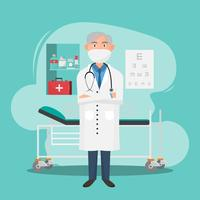 Satz Doktorcharaktere mit medizinischen Elementen und Werkzeug. vektor