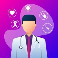 Medicinska ikoner och doktor med stetoskop
