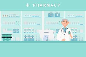 Apotheke mit Arzt in der Theke. Drogerie-Zeichentrickfigur