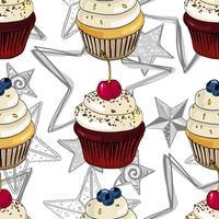 Nahtloses Muster mit kleinen Kuchen und Sternen.