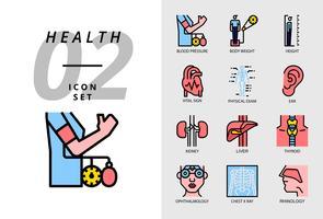 Ikon pack för hälsa, sjukhus, blodtryck, kroppsvikt, höjd, vitala tecken, fysisk provning, öra, njure, lever, sköldkörtel, ögonläkare, bröstkorgen x ray, rinologi.