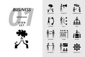 Icon Pack für Business, Brainstorm, Förderung, Kommunikation, Kunde, Fähigkeiten, Chef, Austausch, Leiter, Meeting, Partnerschaft, Präsentation, Produktivität vektor