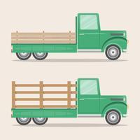 uppsättning gammal retro pickup lastbil leverans inom gården vektor