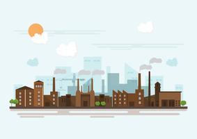 Industriell fabrik i en platt stil. Vektor och illustration av tillverkningsbyggnad.