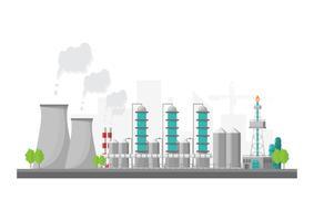 Industriell fabrik i en platt stil. Vektor och illustration av tillverkningsbyggnad