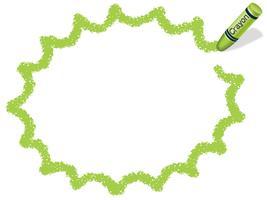 Gelbgrüner Wachsmalstiftrahmen / Sprechblase. vektor