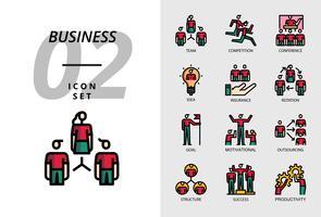 Ikonpaket för företag, lag, tävling, konferens, idé, försäkring, rotation, mål, motivation, outsourcing, struktur, framgång, produktivitet. vektor