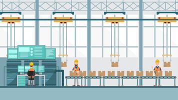 smart industrifabrik i en platt stil med arbetare, robotar och monteringslinjepackning.