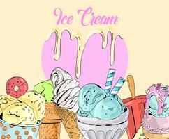 Gezeichneter Eiscremehintergrund des Vektors der Karikatur nette bunte Hand.