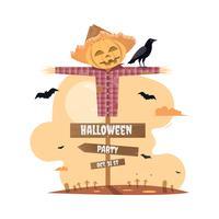 Halloween-Party mit Vogelscheuche-Cartoon.