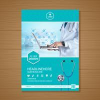 Hälso-och sjukvårdsskydd a4 malldesign för en rapport och medicinsk broschyrdesign, flygblad, broschyrer dekoration för tryck och presentation vektor illustration