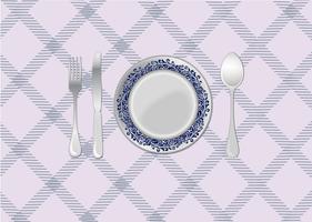 Middagsbord plats inställning vektor