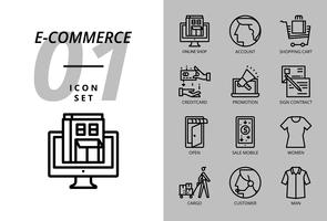 Ikonpaket för e-handel, webbutik, konto, kundvagn, lönekredit, marknadsföring, skyltkontrakt, butik öppen, försäljning mobil, damduk, last, kund, manduk. vektor
