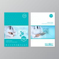 Design der Schablone der Gesundheitsfürsorge-Abdeckung a4 für einen Bericht und eine medizinische Broschüre entwerfen, Flieger, Broschürendekoration für den Druck und Darstellungsvektorillustration vektor