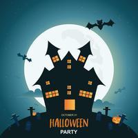 Halloween-Nachthintergrund mit Kürbis und dunklem Schloss unter dem Mondschein