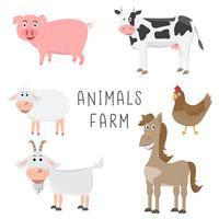 uppsättning av djur i gården tecknad platt design
