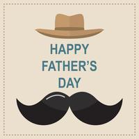 Grattis på födelsedag hälsningskort. Design med slips, mustasch, svarta glasögon på retro pappersbakgrund. vektor