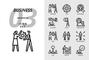 Ikonpaket för företag, Teamwork, Team, Framgång, Kund, Folk, Headhunting, Ide, Människor, Möjligheter, Växande, Tillväxt, Schema. vektor