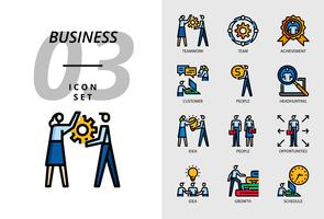 Icon Pack für Business, Teamwork, Team, Leistung, Kunde, Menschen, Headhunting, Idee, Menschen, Chancen, Wachstum, Wachstum, Zeitplan vektor