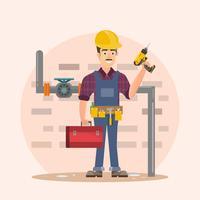 arkitekt, förman, ingenjörsbyggnadsarbetare vektorillustration tecknad film